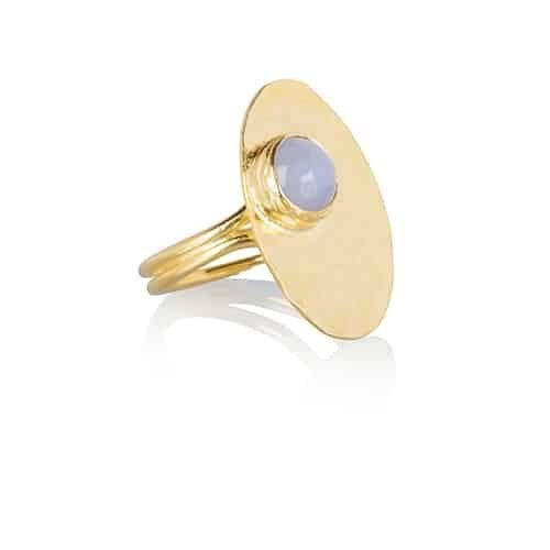 by noon blauw chalcedoon ring