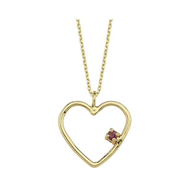heart rhodolite necklace 14ct gold