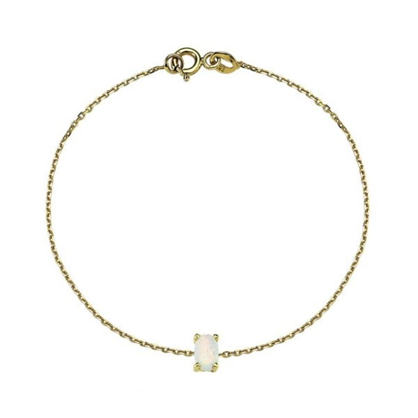 white opal bracelet 14ct gold
